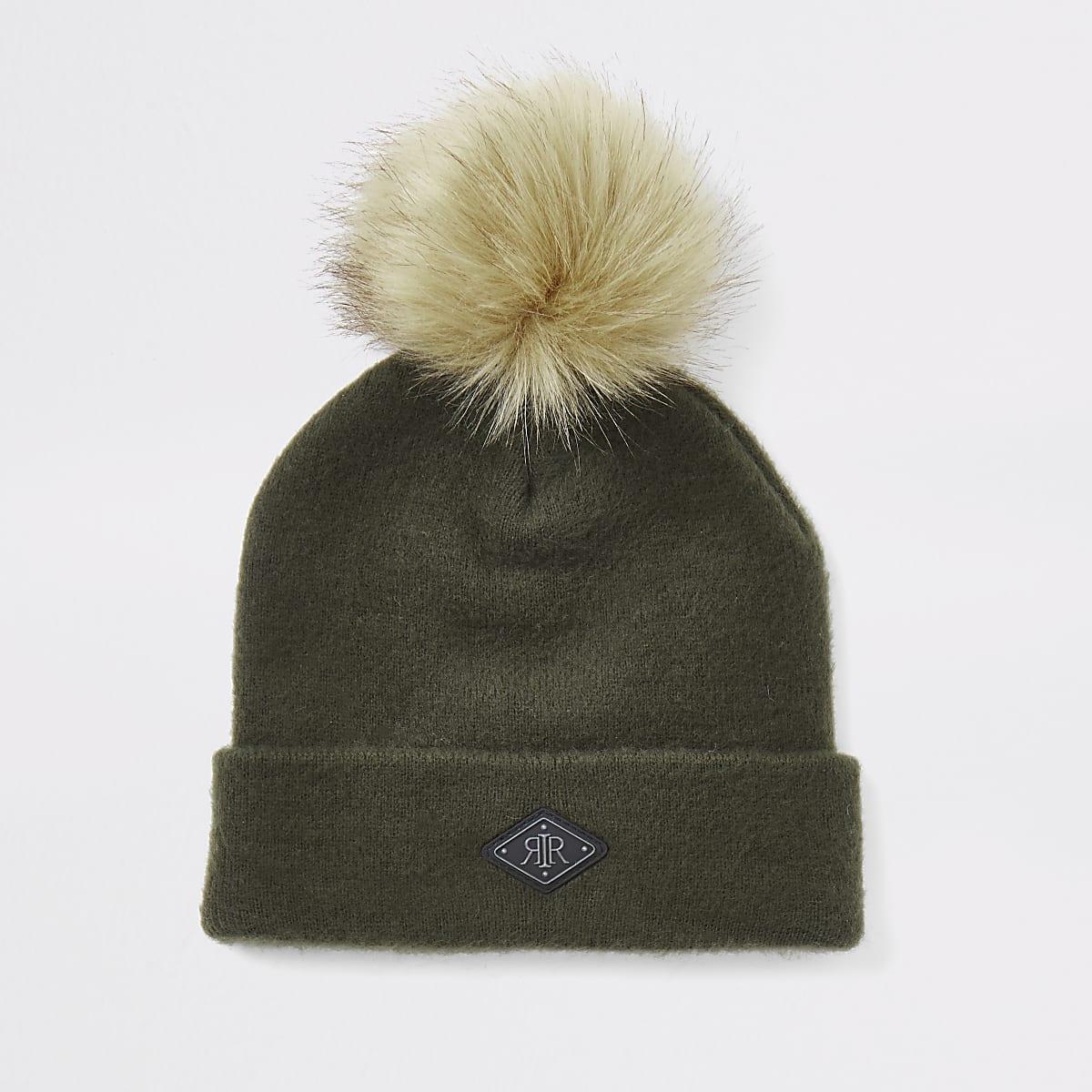 Boys khaki faux fur pom pom beanie hat