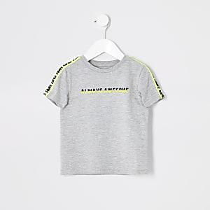 Mini - T-shirt met bies en 'Always awesome'-print voor jongens