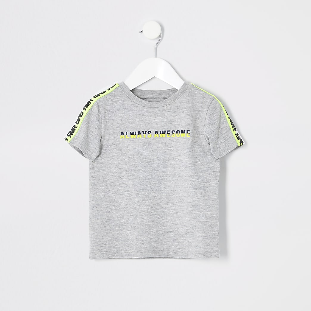 Mini boys 'Always awesome' taped T-shirt