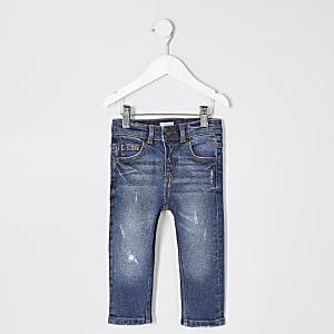 Blaue Skinny Sid Jeans im Used-Look für kleien Jungen
