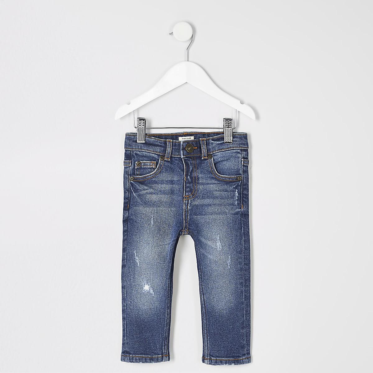 Mini - Blauwe Sid skinny ripped jeans voor jongens