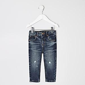 Mini boys dark blue ripped skinny Sid jeans