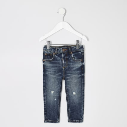 Mini boys dark blue ripped skinny Sid jeans