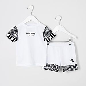 Mini - Outfit met T-shirt met 'mini boss'- en RI-print voor jongens