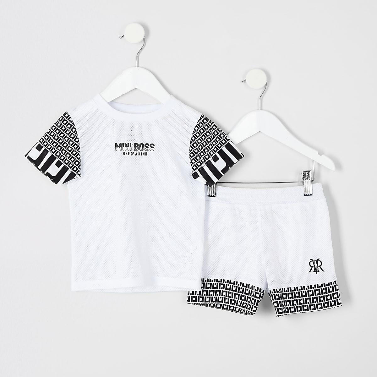 Mini boys RI 'mini boss' print T-shirt outfit