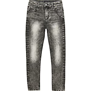 Boys black acid wash Danny super skinny jeans