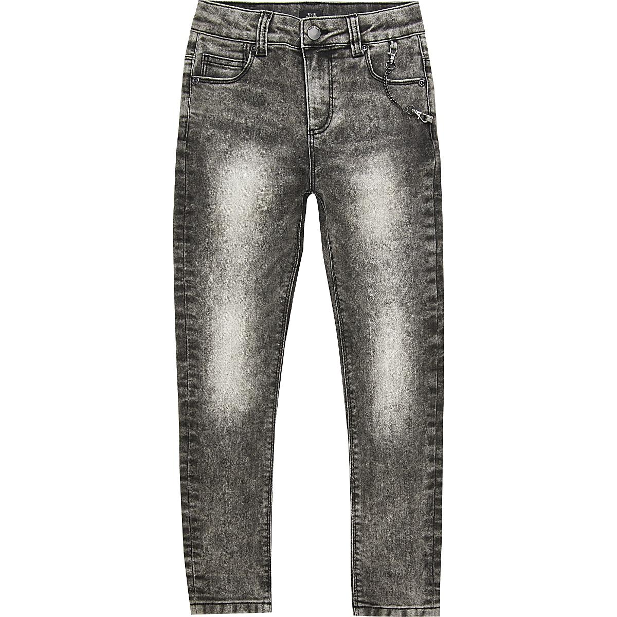 Zwarte acid wash super skinny Danny jeans voor jongens