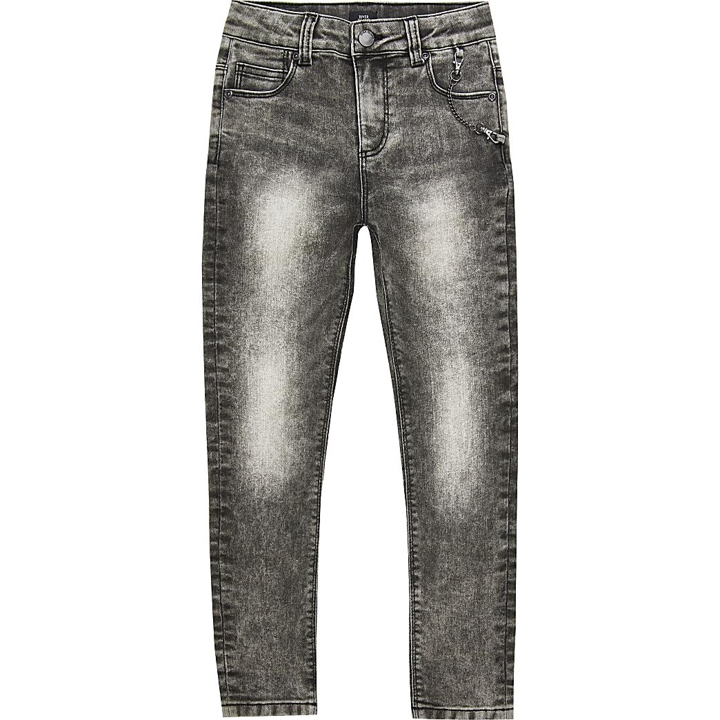 Boys black acid wash Danny super skinny jeans