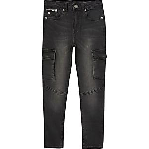 Zwarte skinny-fit Sid utility jeans voor jongens