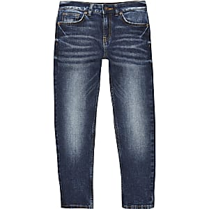 Jake - Donkerblauwe regular-fit denim jeans