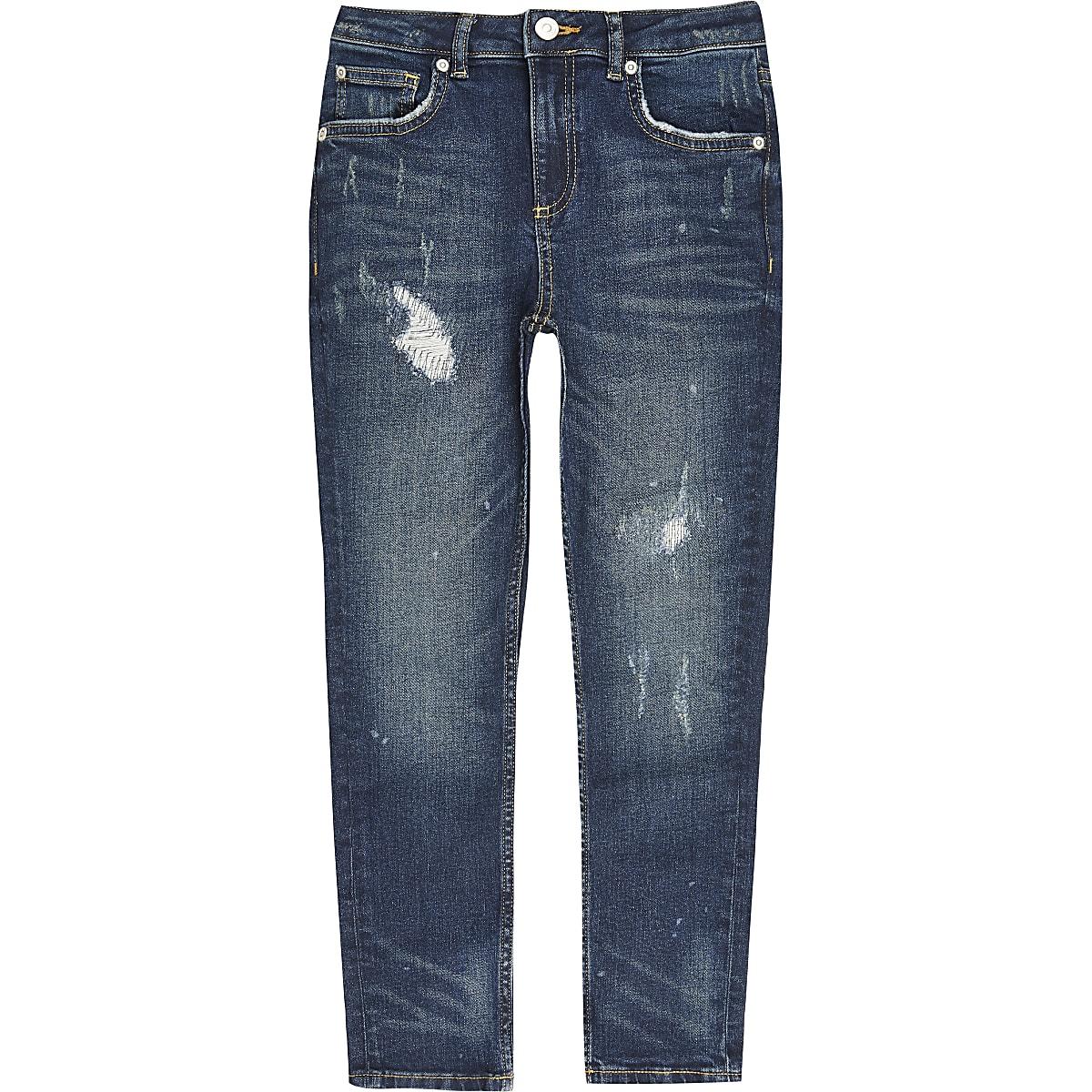 Boys blue ripped Sid skinny jeans
