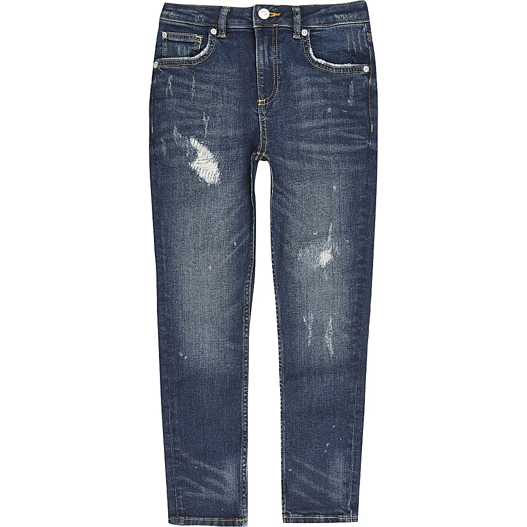 Boys blue ripped Sid skinny jeans