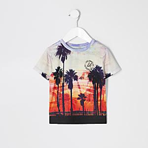 T-shirt imprimé palmiers blanc mini garçon
