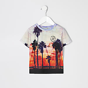 Mini - Wit T-shirt met palmboomprint voor jongens