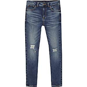 Boys Sid dark denim ripped skinny jeans