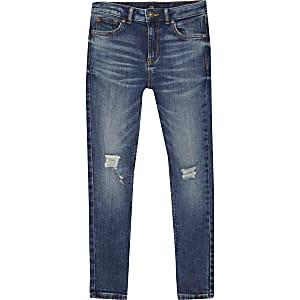 Sid - Donkere denim ripped skinny jeans voor jongens