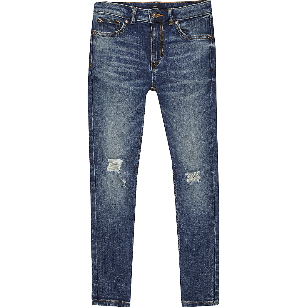 Boys Sid dark denim ripped skinny jeans