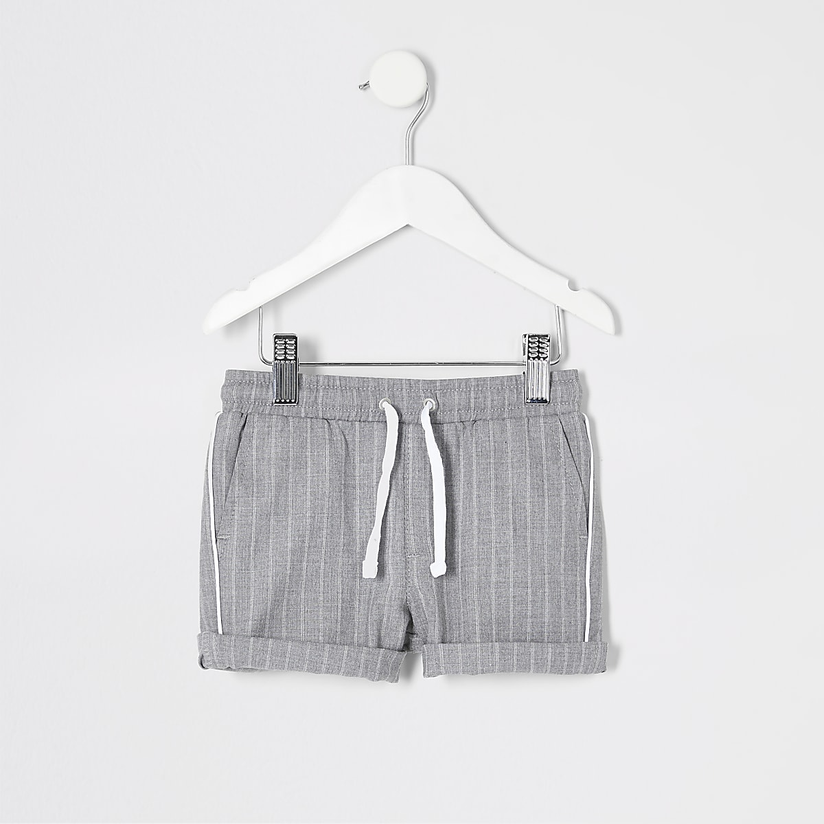 Mini boys grey stripe shorts
