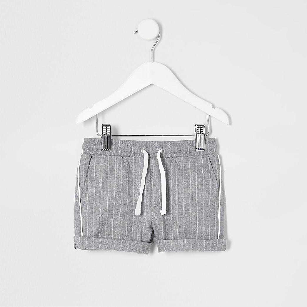 Mini boys grey stripe shorts