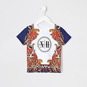 Mini - Wit T-shirt met barokprint voor jongens