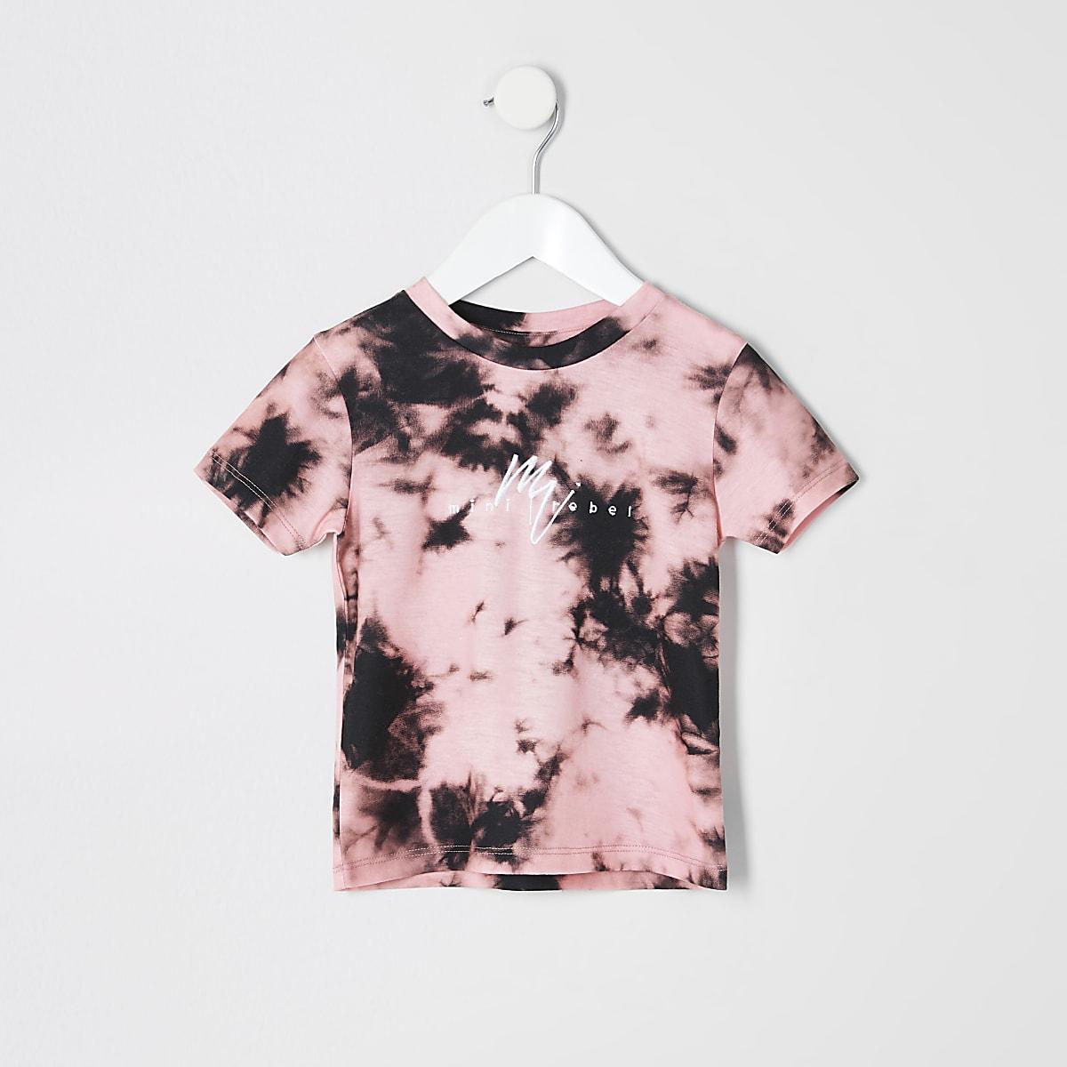 Mini boys pink tie dye T-shirt
