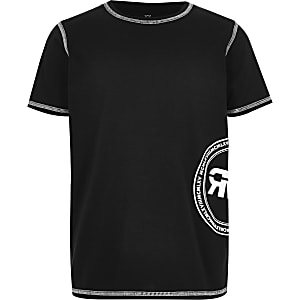 Boys black printed T-shirt