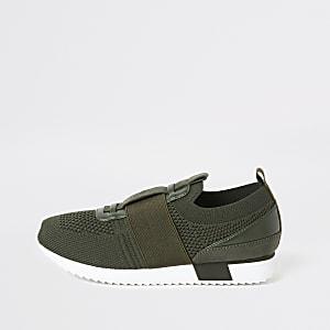 Kaki elastische gebreide sneakers voor jongens