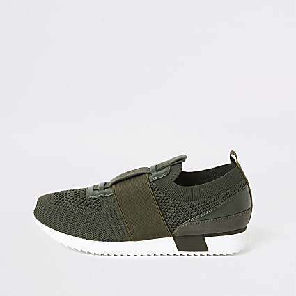 Boys khaki knitted runner trainers