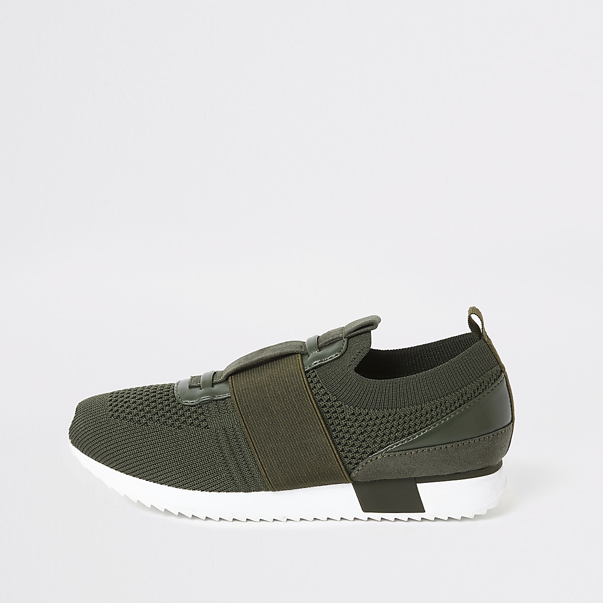 Khakifarbene Strick-Lauf-Sneaker für Jungen