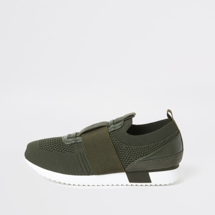 Boys khaki elasticated knitted trainers