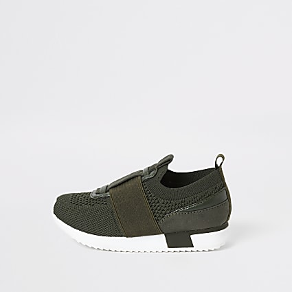 Mini boys khaki knit runner trainers