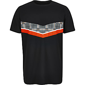 Boys black chevron mesh T-shirt