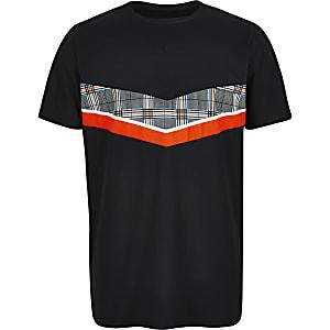 Zwart T-shirt met mesh en zigzagmotief voor jongens
