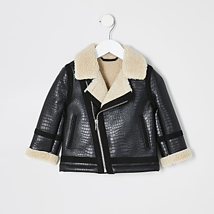 Mini boys black textured borg aviator jacket