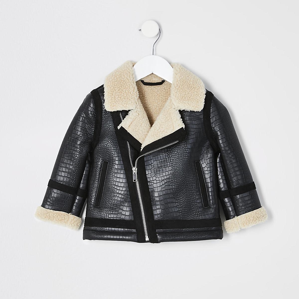 Mini boys black textured borg aviator jacket