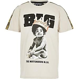 Beige T-shirt met baby- en Biggie Smalls-print voor jongens