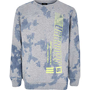 Boys grey tie dye print sweatshirt