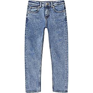 Mittelblaue Jake-Jeans im Acid-Wash-Look für Jungen