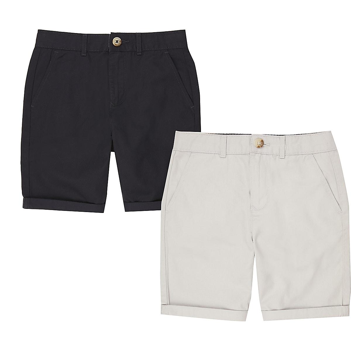 Boys navy and grey chino shorts multipack