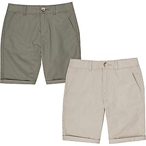 Multipack met kiezelkleurige en kaki chino-short voor jongens