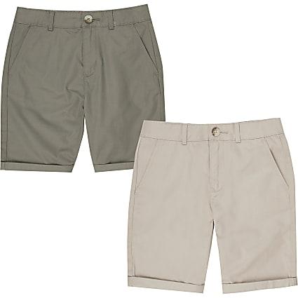 Boys stone and khaki chino shorts multipack