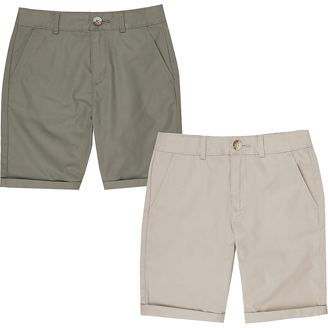 Boys stone and khaki chino shorts multipack