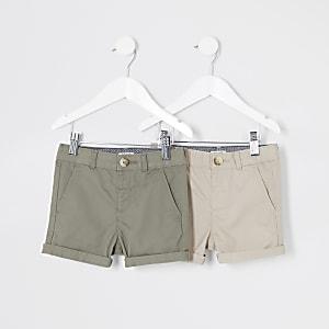 Mini - Kiezelkleurige chino short multipack voor jongens