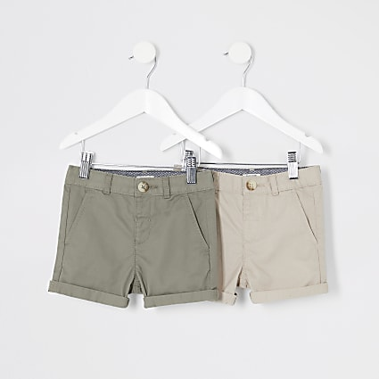 Mini boys stone chino shorts multipack