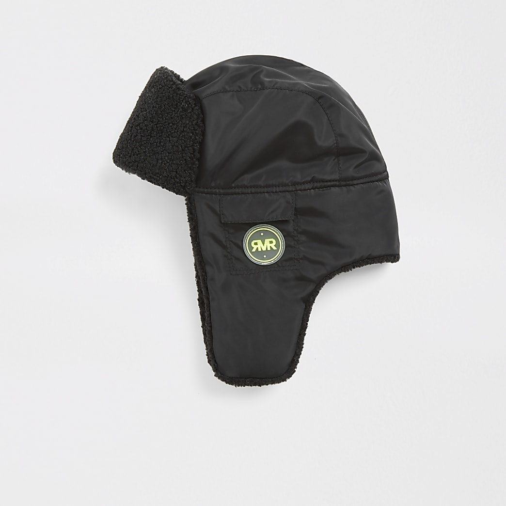 Boys black fleece hat