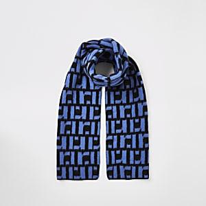 Blauwe sjaal met RI-monogram voor jongens