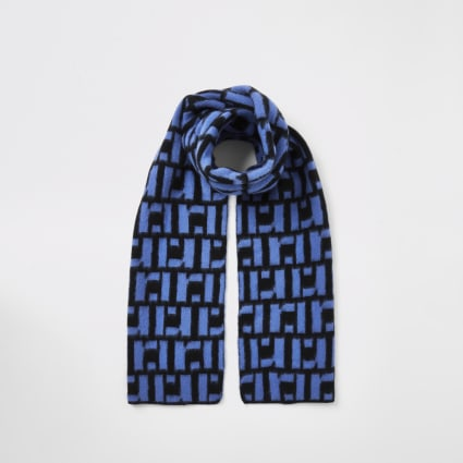 Boys blue RI monogram scarf