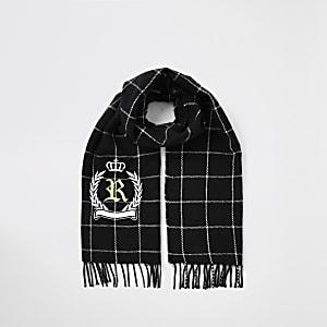 Karierter Schal in Schwarz mit augesticktem RI-Wappen für Jungen