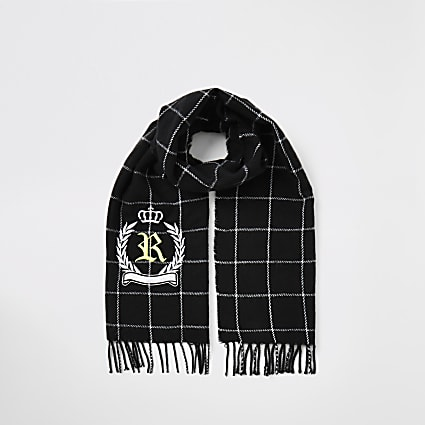 Boys black check RI crest embroidered scarf