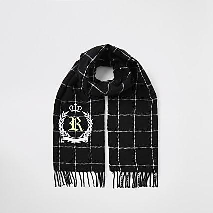 Boys black check RI crest embroidered scarf
